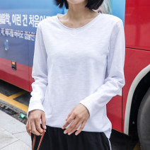 T-shirt white S,M,L,XL,2XL Spring 2021 Long sleeves Crew neck easy Regular routine commute cotton 96% and above 18-24 years old Korean version youth Solid color Cotton of cotton EY-F0325