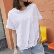 T-shirt white S,M,L,XL,2XL Summer 2021 Short sleeve Crew neck easy Regular routine commute cotton 96% and above 18-24 years old Korean version youth Solid color Cotton of cotton EY-F0374 Pocket, 100% cotton