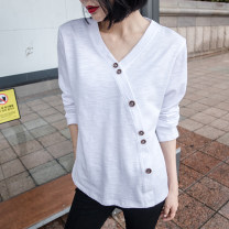 T-shirt white S,M,L,XL,2XL Spring 2021 Long sleeves V-neck easy Regular routine commute cotton 96% and above 18-24 years old Korean version youth Solid color Cotton of cotton EY-F0331H Asymmetric, button, retro, original design
