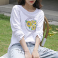 T-shirt white S,M,L,XL,2XL Spring 2021 Long sleeves Crew neck easy Regular routine commute cotton 96% and above 18-24 years old Korean version originality Plants, flowers, letters, solid colors Cotton of cotton EY-F0575 Printed, 100% cotton, original design