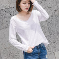 T-shirt white S,M,L,XL,2XL Spring 2021 Long sleeves Crew neck easy Regular routine commute cotton 96% and above 18-24 years old Korean version youth Solid color Cotton of cotton