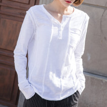T-shirt White, black, coffee, army green, dark purple, desert S,M,L,XL,2XL Spring 2021 Long sleeves V-neck easy Regular routine commute cotton 96% and above 18-24 years old Korean version originality Solid color Cotton of cotton EY-F0216 Pocket, stitching, buttons, hem, original design