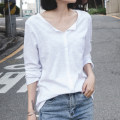 T-shirt white S,M,L,XL,2XL Spring 2021 Long sleeves V-neck easy Regular routine commute cotton 96% and above 18-24 years old Korean version youth Solid color Cotton of cotton EY-F0043QT