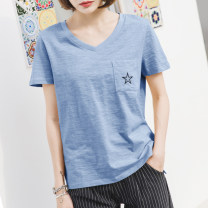 T-shirt Lake blue, apricot, rose red, white S,M,L,XL,2XL Summer 2021 Short sleeve V-neck easy Regular routine commute cotton 96% and above 18-24 years old Korean version youth Geometric pattern Cotton of cotton EY-F0163 Embroidery, split hem, fashionable small five pointed star design