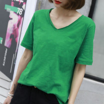 T-shirt S,M,L,XL,2XL Summer 2021 Short sleeve V-neck easy Regular routine commute cotton 96% and above 18-24 years old Korean version youth Solid color