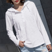 T-shirt S,M,L,XL,2XL,3XL,4XL Spring 2021 Long sleeves V-neck easy Regular routine commute cotton 96% and above 18-24 years old Korean version youth Solid color Button