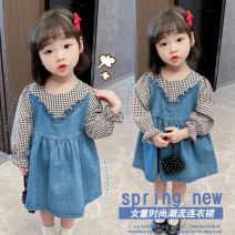 Dress Denim plaid skirt female Lotzy 80cm 90cm 100cm 110cm 120cm 130cm Cotton 95% other 5% spring and autumn leisure time Long sleeves Cartoon animation cotton Pleats LCY857968452 other Spring 2021 12 months, 6 months, 18 months, 2 years, 3 years, 4 years, 5 years, 6 years Chinese Mainland