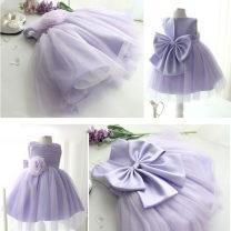 Dress lilac colour female Hailun bebe 80cm,90cm,100cm,110cm,120cm,130cm,140cm,150cm Cotton 100% No season princess Skirt / vest Solid color Chiffon Cake skirt Class B 2, 3, 4, 5, 6, 7, 8, 9, 10, 11
