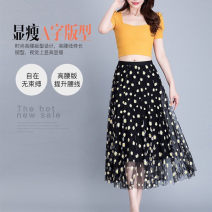 skirt Spring 2021 S,M,L Picture color longuette Sweet Natural waist A-line skirt Decor Type A 5300073-1202451-001 Chiffon Brother amashi Cellulose acetate Zipper, print, Ruffle Countryside