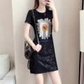 Women's large Summer 2021 black S [suggested 80-98 Jin], m [suggested 98-110 Jin], l [suggested 110-120 Jin], XL [suggested 120-140 Jin], 2XL [suggested 140-160 Jin], 3XL [suggested 160-180 Jin], 4XL [suggested 180-200 Jin] Dress singleton  commute easy thin Socket Short sleeve Korean version routine