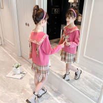 suit Other / other Pink, khaki, blue 120cm,150cm,130cm,140cm,160cm,110cm female summer Korean version Long sleeve + skirt 2 pieces routine There are models in the real shooting Socket nothing lattice Cotton blended fabric children Expression of love YRBTZ1234590 Class B Polyester 80% cotton 20%