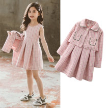 suit Other / other Light blue, pink 110cm,120cm,130cm,140cm,150cm,160cm female spring and autumn Korean version Long sleeve + skirt 2 pieces routine There are models in the real shooting Single breasted nothing lattice other children Giving presents at school Class B Other 100%