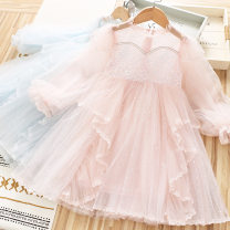 Dress Light blue, pink female Other / other 110cm,120cm,130cm,140cm,150cm Other 100% spring and autumn Korean version Long sleeves Solid color other A-line skirt Class B Three, four, five, six, seven, eight, nine, ten, eleven, twelve