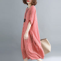 Dress Summer of 2018 Picture color Average size [110-220 Jin] longuette singleton  Short sleeve commute Crew neck Loose waist stripe Socket A-line skirt Bat sleeve Others Type A Other / other literature pocket 71% (inclusive) - 80% (inclusive) other