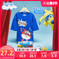 T-shirt baleno junior 110cm 120cm 130cm 140cm 150cm male summer Short sleeve Crew neck Cartoon nothing cotton Cartoon animation Cotton 100% Class B Sweat absorption Spring 2021 Chinese Mainland