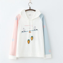 Sweater / sweater Spring 2021 White, blue Average size Long sleeves routine Socket singleton  routine Hood easy Sweet routine Cartoon animation Under 17 81% (inclusive) - 90% (inclusive) Other / other cotton Splicing cotton Cotton liner solar system