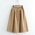 skirt Spring 2021 Average size Khaki, black Mid length dress Sweet High waist A-line skirt Solid color Type H E 51% (inclusive) - 70% (inclusive) other cotton Button, lace up