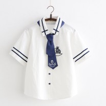 shirt White, Navy S,M,L Summer of 2019 cotton 51% (inclusive) - 70% (inclusive) Short sleeve Sweet Polo collar Single row multi button routine other Under 17 Straight cylinder Other / other Embroidery, buttons solar system
