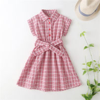 Dress A Red Plaid Dress female Other / other 110y(100cm),120y(110cm),130y(120cm),140y(130cm),150y(140cm),160y(150cm) Cotton 75% other 25% summer leisure time Short sleeve lattice cotton other skirt 2, 3, 4, 5, 6, 7, 8, 9, 10 years old