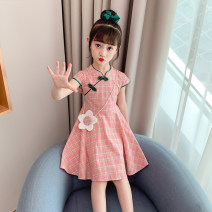 Dress Pink [send the same bag], orange [send the same bag], blue [send the same bag], red [send the same bag], purple [send the same bag], collection and purchase, priority delivery female Other / other 110cm,120cm,130cm,140cm,150cm,160cm Other 100% summer ethnic style Short sleeve lattice cotton