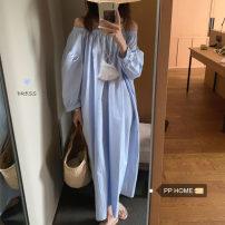 Dress Summer 2021 blue Average size Mid length dress singleton  Solid color