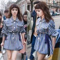 Dress Autumn of 2019 sky blue S,M,L,XL Middle-skirt singleton  Long sleeves commute One word collar middle-waisted stripe A button Pleated skirt shirt sleeve Others 25-29 years old Type H Ol style Pleating 81% (inclusive) - 90% (inclusive) knitting cotton