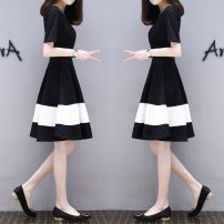 Dress Summer of 2018 669 # black and white patchwork dress, 101 @ White Short Sleeve stripe M [80-100 Jin], l [100-115 Jin], XL [115-125 Jin], 2XL [125-135 Jin], XXXL [135-150 Jin] Mid length dress singleton  Short sleeve commute Crew neck other Socket A-line skirt routine Others Other / other