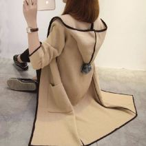 Sweater / sweater Autumn 2020 Long sleeves Medium length Cardigan singleton  routine Hood easy commute routine Solid color 96% and above Other / other Korean version polyester fiber polyester fiber