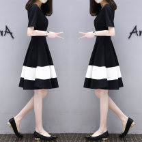 Dress Summer of 2018 Mid length dress singleton  Short sleeve commute Crew neck other Socket A-line skirt routine Others Other / other Korean version Splicing
