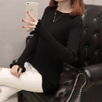Women's large Winter of 2019, autumn of 2019 sweater singleton  commute easy moderate Socket Long sleeves Solid color Korean version Crew neck routine Cotton, rabbit hair, others Three dimensional cutting Petal sleeve 25-29 years old 81% (inclusive) - 90% (inclusive)