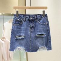 skirt Summer 2021 M blue Short skirt Versatile Natural waist Denim skirt Type H 25-29 years old 1B2105 More than 95% other cotton