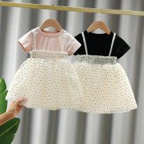 Dress Pink, black female Other / other 73cm,80cm,90cm,100cm,110cm Cotton 95% other 5% summer Korean version Short sleeve Dot cotton Princess Dress Class B 3 months, 12 months, 6 months, 9 months, 18 months, 2 years old, 3 years old, 4 years old