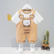 suit Other / other Pink, yellow, brown 73cm,80cm,90cm,100cm,110cm neutral summer Korean version Short sleeve + pants 2 pieces Thin money No model Socket nothing Cartoon animation cotton children Expression of love other Cotton 95% other 5%