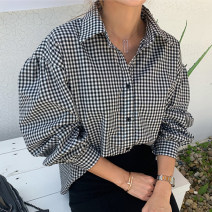 shirt Black and white check S,M,L,XL Autumn 2020 cotton 96% and above Long sleeves commute Regular square neck Single row multi button puff sleeve lattice 18-24 years old Straight cylinder Yan Rong lady IA9002 Button, button Cotton and hemp