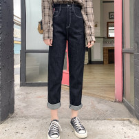 Women's large Spring 2021 Denim blue Large XL, 2XL, 3XL, 4XL, 5XL trousers singleton  street Straight cylinder moderate Solid color cotton DJ022856 10. DAA / Xiada 96% and above trousers Europe and America