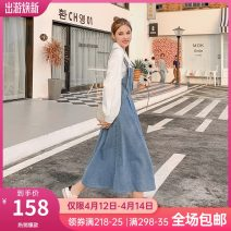 Women's large Spring 2021 Denim strap skirt Large L, large XL, 2XL, 3XL, 4XL, 5XL Dress Two piece set street easy moderate Socket Long sleeves stand collar routine Three dimensional cutting routine DG023119 10. DAA / Xiada 18-24 years old pocket longuette straps Europe and America