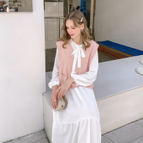 Women's large Spring 2021 Dress - white, knitted vest - Pink Large XL, 2XL, 3XL, 4XL, 5XL Two piece set street easy moderate Socket Long sleeves Solid color routine DA029853 10. DAA / Xiada 18-24 years old Medium length Europe and America