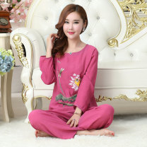 Pajamas / housewear set female Other / other XXL [suitable for 135-155 kg], XL [suitable for 120-140 kg], l [suitable for 100-120 kg], m [suitable for 80-100 kg] viscose  Long sleeves Simplicity Leisure home autumn routine Crew neck other trousers Socket middle age 2 pieces rubber string other