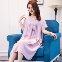 Pajamas / housewear set female Other / other other Short sleeve Simplicity pajamas summer Thin money Crew neck other Socket middle age one-piece garment Cotton and hemp Middle-skirt