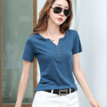 T-shirt Dark green, blue, purple, white S,M,L,XL,2XL,3XL Summer 2021 Short sleeve V-neck easy Regular routine commute cotton 96% and above Korean version originality Solid color Pinge Dixin Button