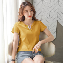 T-shirt White, black, blue, yellow, pink M,L,XL,2XL,3XL,4XL Summer 2021 Short sleeve V-neck easy Regular routine commute cotton 96% and above Korean version Color matching Pinge Dixin Splicing