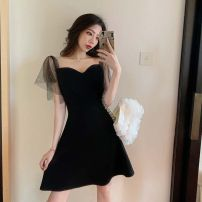 Dress Summer 2020 black S,M,L Short skirt singleton  Short sleeve commute square neck High waist Solid color zipper A-line skirt other Others 18-24 years old Type A Korean version Open back, nail bead, gauze net 81% (inclusive) - 90% (inclusive)