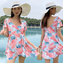 one piece  Baiya XL [110-130 Jin], 2XL [130-150 Jin], 3XL [150-170 Jin] Skirt one piece With chest pad without steel support female Short sleeve Casual swimsuit
