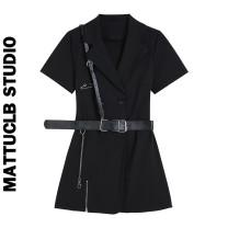 Dress Summer 2020 black S,M,L Short skirt Short sleeve commute Type A Retro