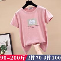 Women's large Summer of 2019 6330 white, 6330 black, 6330 red, 6330 purple, 6330 sky blue, 6330 Pink Large L (95-120 kg), large XL (125-140 kg), large 2XL (145-160 kg), large 3XL (165-180 kg), large 4XL (180-200 kg) T-shirt singleton  commute easy moderate Socket Short sleeve Korean version Crew neck