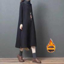 Women's large Winter of 2019, autumn of 2019 Gray, black Large L, large XL Dress singleton  commute easy Socket Long sleeves Solid color Korean version High collar Medium length