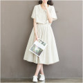 Dress Summer 2021 Picture color S,M,L,XL,2XL longuette singleton  Short sleeve Sweet Doll Collar Elastic waist stripe Socket Big swing routine Others 18-24 years old Type A Bow, tie 51% (inclusive) - 70% (inclusive) other cotton college