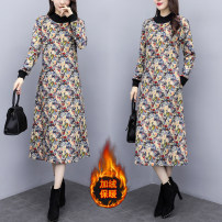 Dress Winter of 2019 Picture color M,L,XL,2XL,3XL,4XL Mid length dress singleton  Long sleeves commute Crew neck Loose waist Decor Socket A-line skirt routine Type A literature printing 81% (inclusive) - 90% (inclusive) cotton
