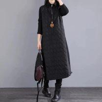 Dress Spring 2021 Black, red M,L,XL,2XL longuette singleton  Long sleeves commute High collar Loose waist zipper routine Others Korean version Splicing cotton