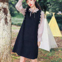 Wool knitwear Autumn 2020 S,M,L black Long sleeves Fake two pieces cotton 71% (inclusive) - 80% (inclusive) Medium length routine Sweet easy Half open collar pagoda sleeve Wave point Socket Fungus, lace up solar system
